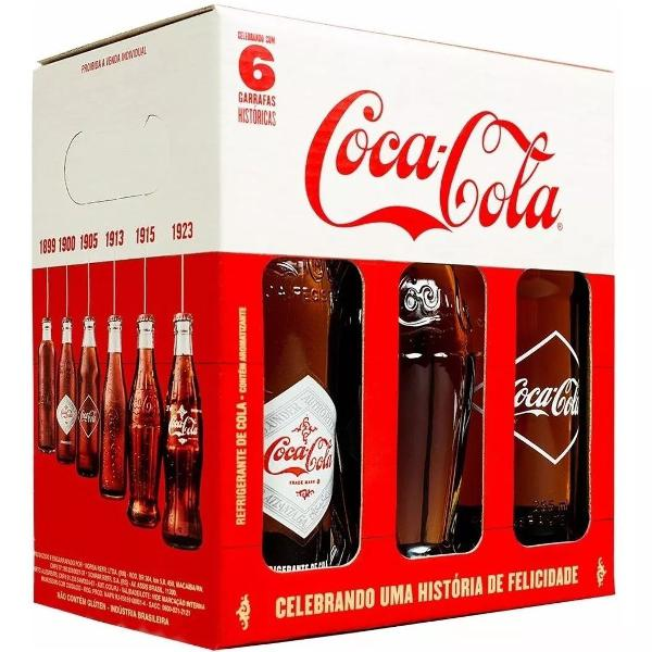 Coca cola 6 garrafas retrô históricas cheias lacradas