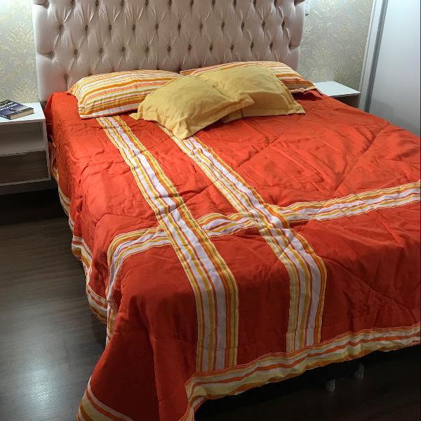 Conjunto 9 peças colcha cama queen, travesseiros e