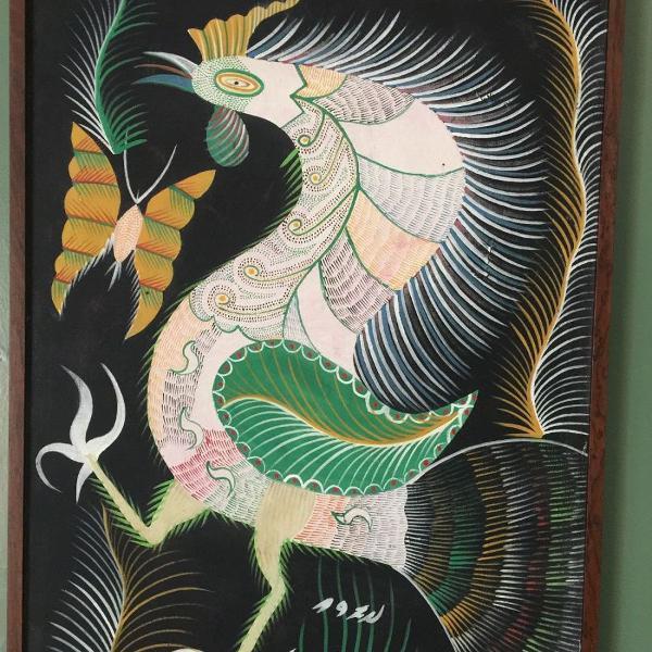 """Francisco da silva - """"galo e borboleta"""" - óleo sobre tela -"""