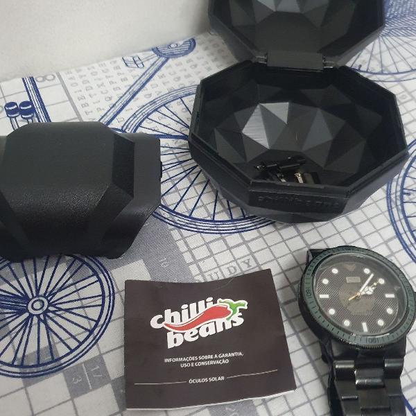 Relógio chilli beans preto edição especial dj vintage