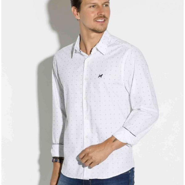 Camisa beagle masculina manga longa branca estampa
