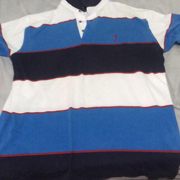 Camisa polo azul e branca aleatório