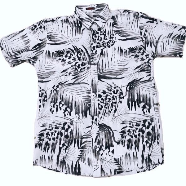 Camisa social floral manga curta estampada slim