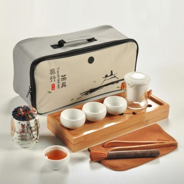 Jogo de chá portátil chinês feito a mão.