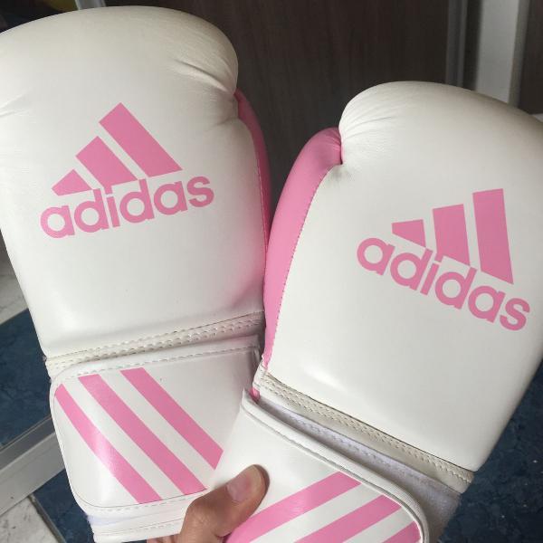 Luva de boxe, adidas, rosa e branca
