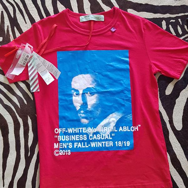 Camiseta com estampa berlin vermelho de algodão, off-white.