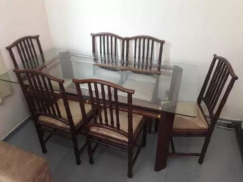 Mesa de jantar mogno 6 lugares