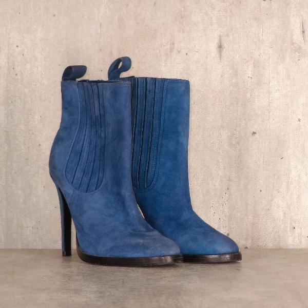 Bota couro azul salto alto studio tmls