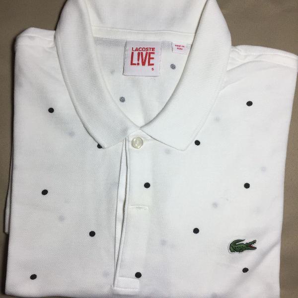 Camiseta polo lacoste live! branca com bolinha preta