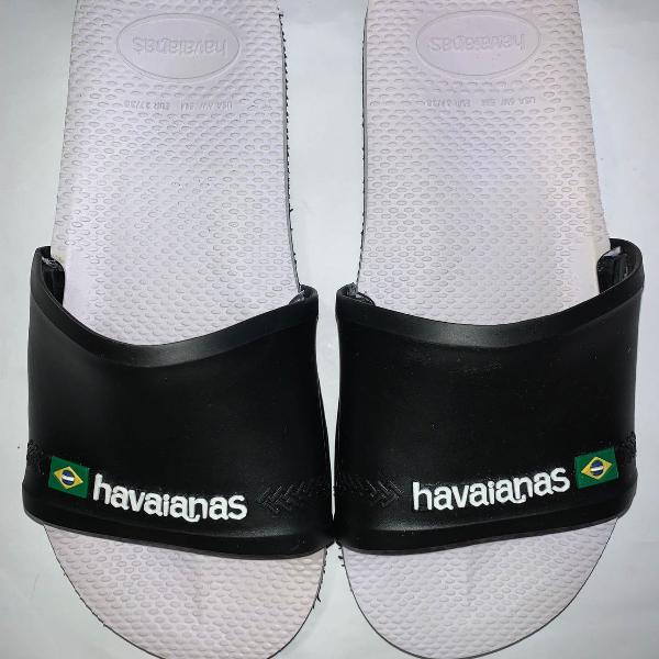 Chinelo slide havaianas preto e branco 35/36 novo