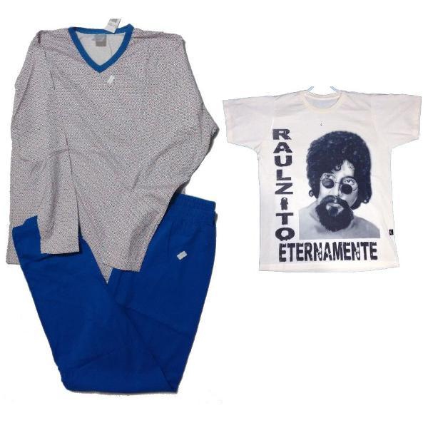Kit 2 peças camisetas masculinos rau seixas e pijama tm- p