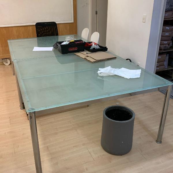 Mesa tampo de vidro tok&stok