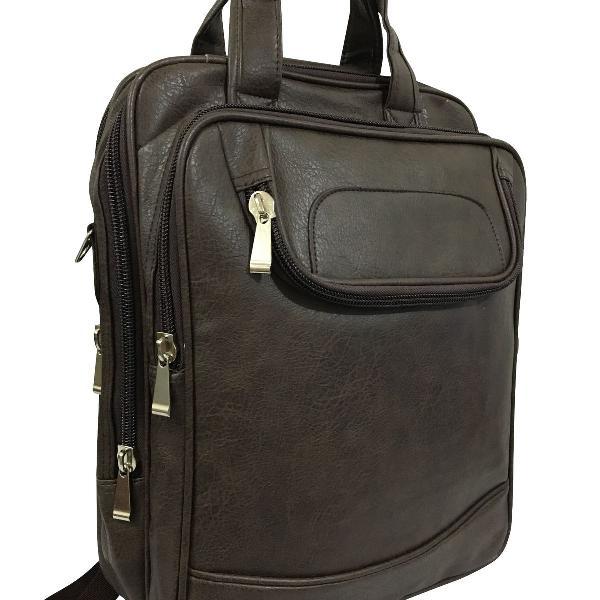 Pasta mochila masculina couro executiva notebook bolsa
