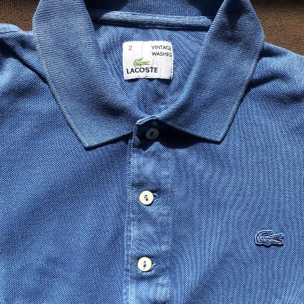 Polo lacoste azul royal vintage washed