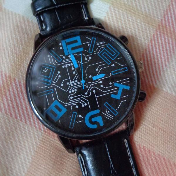 Relógio de quartzo de couro masculino meski
