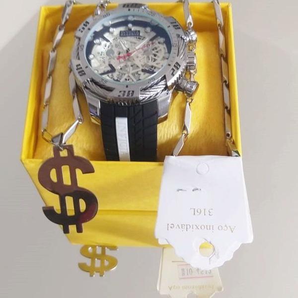 Relógio invicta bolt zeus prata + caixa + corrente top de