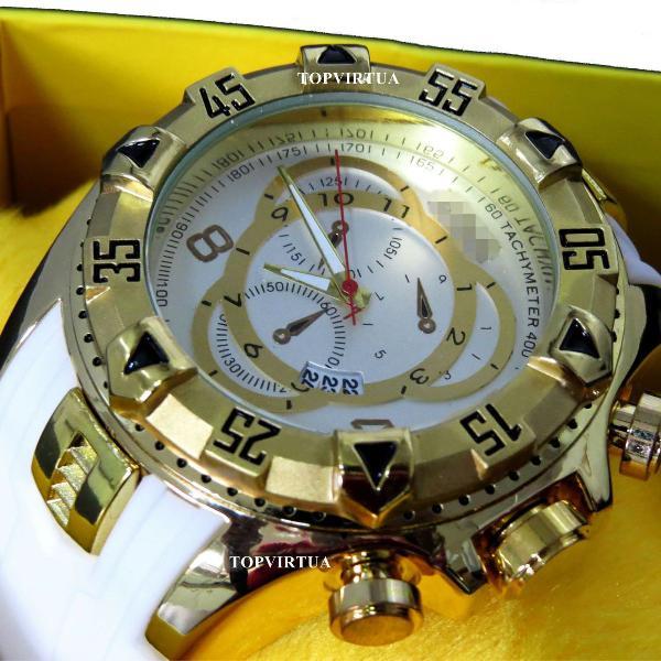 Relógio invicta reserve excursion branco borracha gold top
