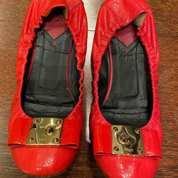 Sapatilha fendi em couro, vermelha , vermelho, tamanho 38.5