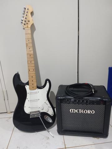 Caixa meteoro + guitarra + cabo