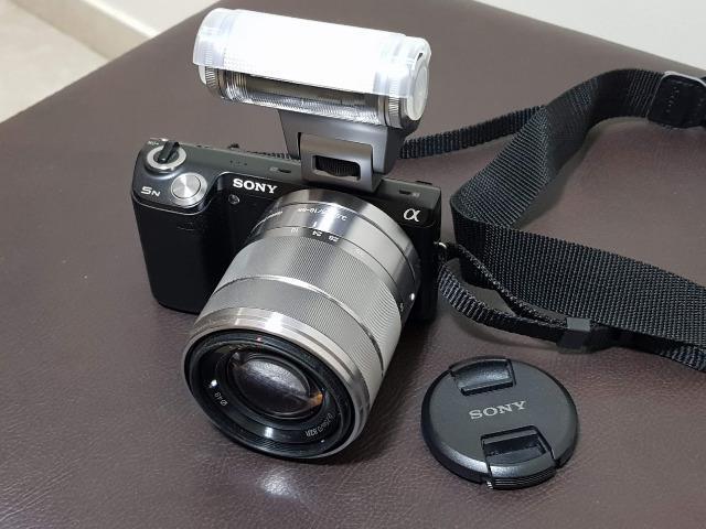 Camera fotográfica sony nex-5n completa com flash adicional