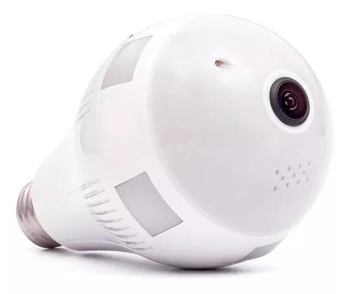 Camera lampada espia ip wifi 360 microfone led hd panoramica