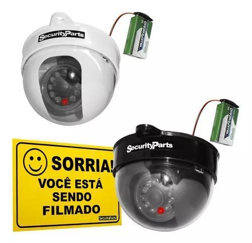 Câmera segurança dome falsa c/ led a pilha s