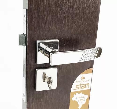 Fechadura stam 823/21 porta banheiro quadrada cromada
