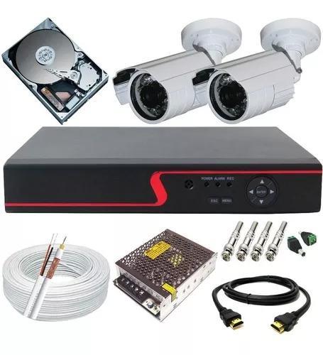 Kit 2 câmeras de segurança hd 1.3 mp infra + dvr + cabo