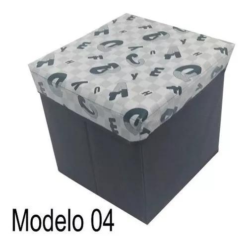 Kit 4 Puff Baú Dobrável 30x30cm Banquinho Organizador