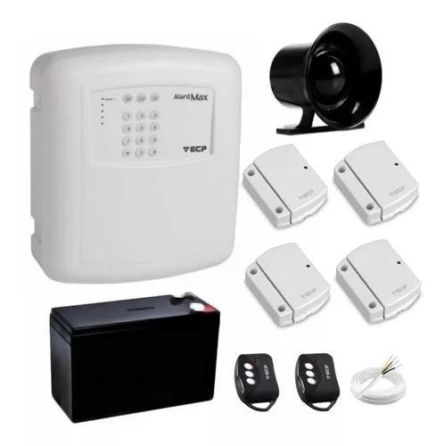 Kit alarme residencia ecp c/ 4 sensores porta/janela s/ fio