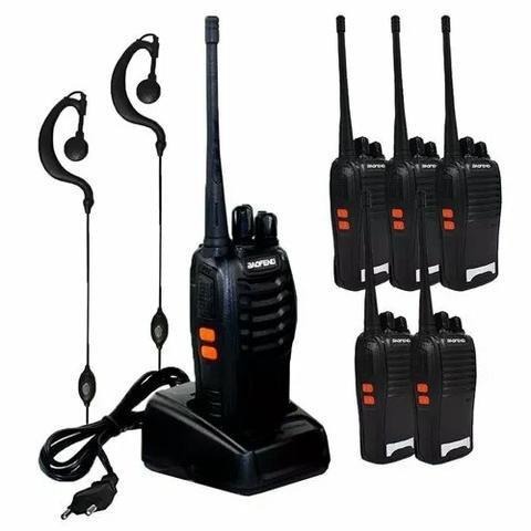 Kit baofeng 6 unidades de rádios comunicadores walk talk