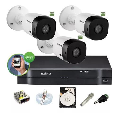 Kit intelbras 3 cam 1220b 1080p ir20m dvr mhdx 1104 c/ hd