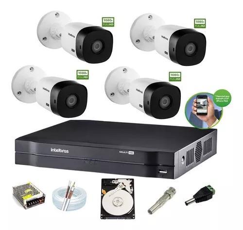 Kit intelbras 4 cam 1220b g4 full hd 1080p 2m dvr 4 mhdx