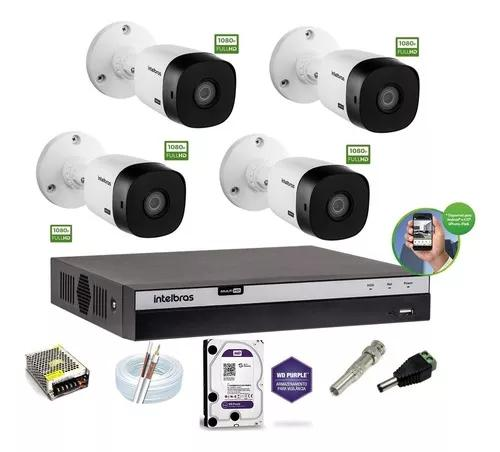 Kit intelbras 4 cam 1220b g4 full hd 1080p 2m dvr 4 mhdx