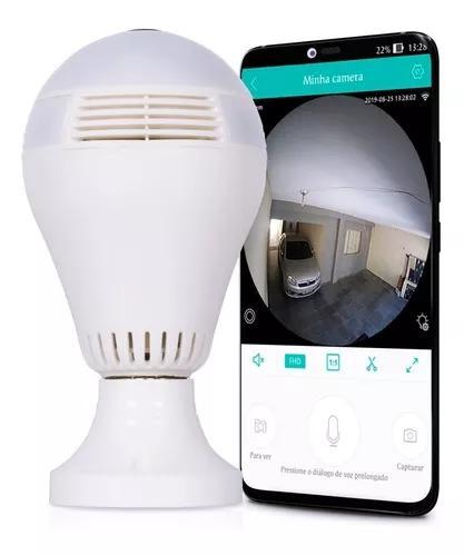 Lâmpada câmera ip espiã 360 e-27 sensor alarme acesso