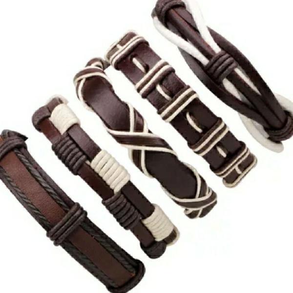 kit 5 pulseira de couro ajustavel