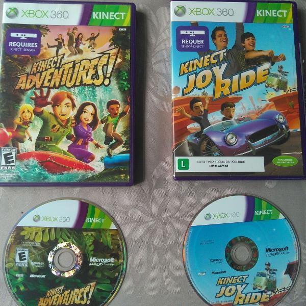 Kit jogos kinect adventures e kinect joy ride - xbox 360