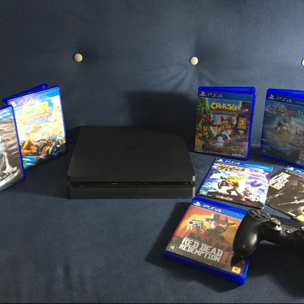 Playstation 4 com controle e jogos