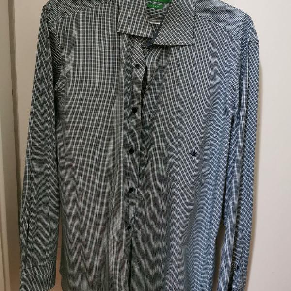 Camisa social brooksfield - cinza/verde escuro quadriculado