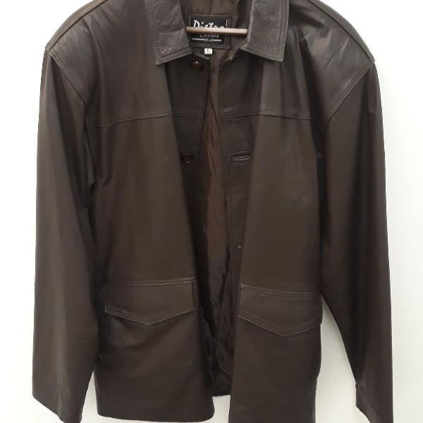 Jaqueta de couro legítimo, masculina, tamanho g,na cor
