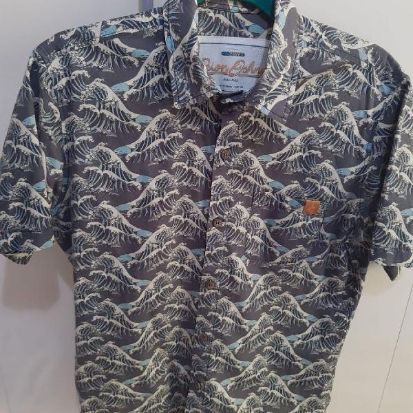 Camisa dion ochner estampa japonesa ondas
