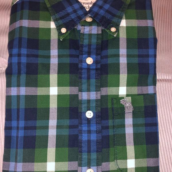 Camisa abercrombie & fitch, tam m slim fit, xadrez, nova