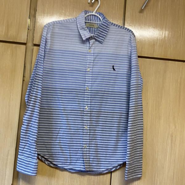 Camisa manga longa algodão listrada