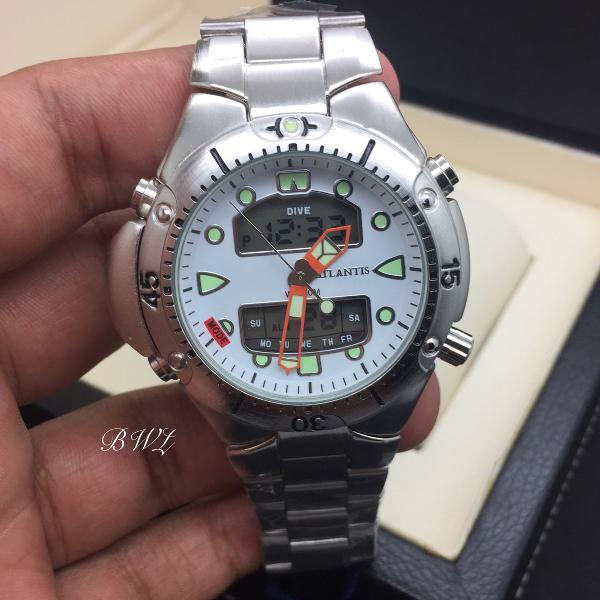 Relógio atlantis aqualand jp 1060 branco aço