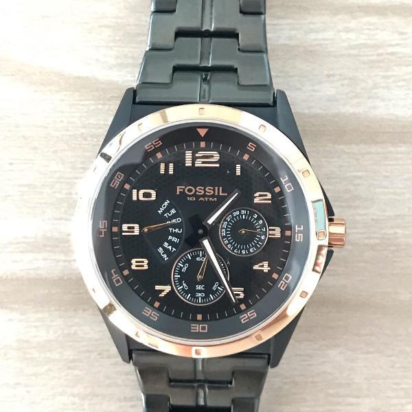 Relógio fossil multi-function black dial bq9348