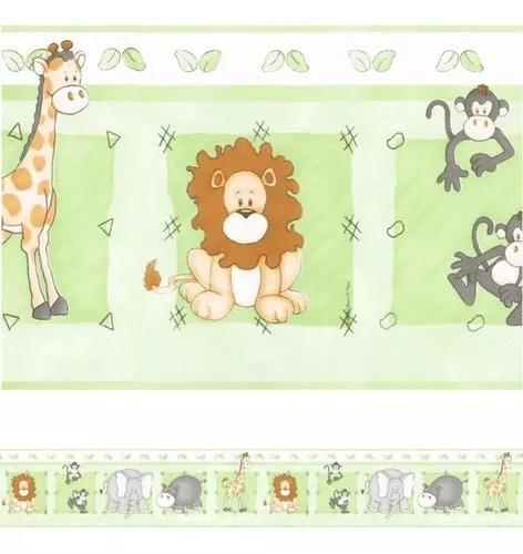 Faixa decorativa papel de parede infantil bebê safari v2710
