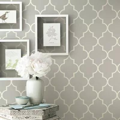Papel de parede adesivo geométrico cinza e branco - mod. 41