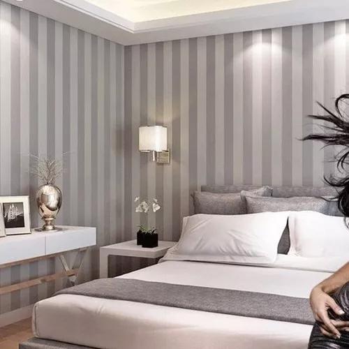 Papel de parede adesivo listras cinza e branco