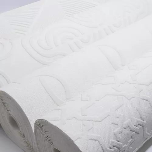 Papel de parede branco 3d importado vinílico alto padrão