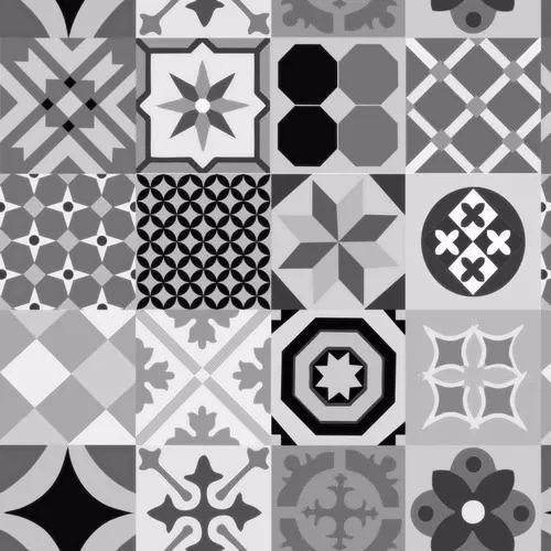 Papel de parede cozinha azulejo hidráulico cinza adesivo